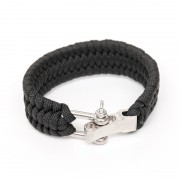 Браслет на руку Survival Paracord (Black) с карабином