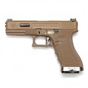 Страйкбольный пистолет (WE) GLOCK 17 Custom TAN/TAN/Silver (GGB-0386TT-TS)