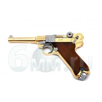 Страйкбольный пистолет (WE) LUGER P08 SHORT GOLD металл