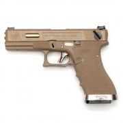 Страйкбольный пистолет (WE) GLOCK 18C Custom TAN/TAN/Gold (GGB-0385TT-TG)