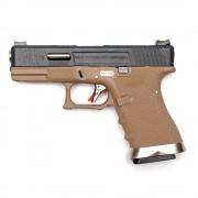 Страйкбольный пистолет (WE) GLOCK 19 Custom TAN/Black/Silver (GGB-0382TT-BS)