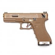 Страйкбольный пистолет (WE) GLOCK 18C Custom TAN/TAN/Silver (GGB-0385TT-TS)