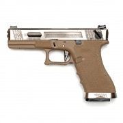Страйкбольный пистолет (WE) GLOCK 18C Custom TAN/Silver/Silver (GGB-0385TT-SS)