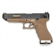 Страйкбольный пистолет (WE) GLOCK 35C Custom TAN/Black/Gold (GGB-0391TT-BG)