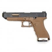 Страйкбольный пистолет (WE) GLOCK 34 Custom TAN/Black/Gold (GGB-0390TT-BG)