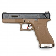 Страйкбольный пистолет (WE) GLOCK 18C Custom TAN/Black/Silver (GGB-0385TT-BS)
