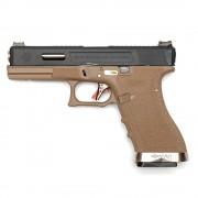 Страйкбольный пистолет (WE) GLOCK 17 Custom TAN/Black/Silver (GGB-0386TT-BS)