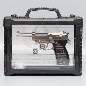 Страйкбольный пистолет (WE) Walther P38 металл (Silver) в кейсе