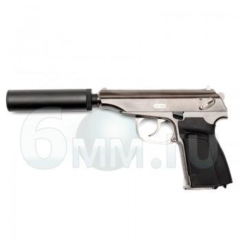 Страйкбольный пистолет (WE) PM Макаров с глуш. (Silver) GGB-0384TS