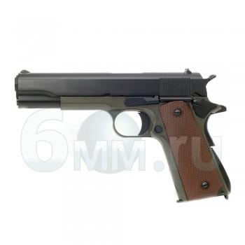 Страйкбольный пистолет (KJW) Colt M1911A1 металл CO2 olive
