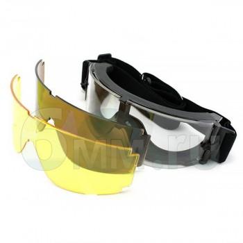 Очки противоосколочные (Daisy) X800 (3 сменные линзы) Black