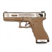 Страйкбольный пистолет (WE) GLOCK 18C Custom TAN/Silver/Gold (GGB-0385TT-SG)